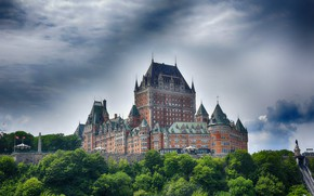 Wallpaper clouds, Canada, the sky, greens, castle, trees, Quebec, Chateau Frontenac