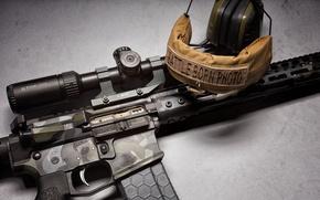Picture weapons, headphones, optics, assault rifle