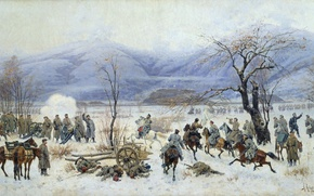 Wallpaper winter, mountains, Canvas, oil., The battle of Sheinovo, The Russo-Turkish war (1877-1878), The battle of ...