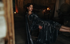 Picture fire, model, candles, makeup, dress, brunette, hairstyle, twilight, photoshoot, posing, in black, on the chair, ...