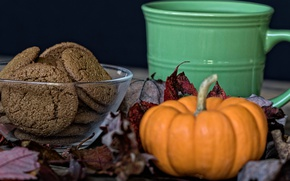 Picture cookies, Cup, pumpkin, still life
