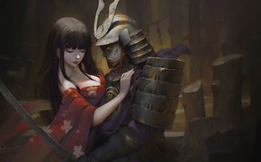 Picture Samurai, girl, hug, sword, breast, Knife Le In, kimono, armor, fantasy, warrior, artwork, painting, fantasy ...