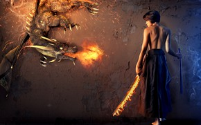 Picture girl, fire, dragon