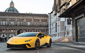 Wallpaper city, Huracan, yellow, Lamborghini, Lamborghini Huracan Performance, Huracan Performante