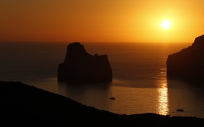 Picture sea, sunset, rocks, beauty, yachts