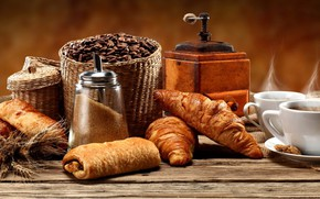 Picture coffee, grain, sugar, croissant, coffee grinder