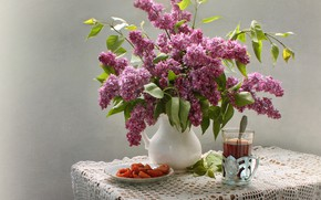 Picture glass, table, tea, plate, spoon, vase, still life, lilac, tablecloth
