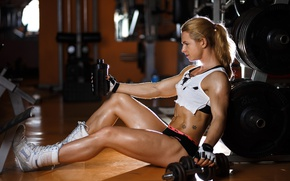 Picture blonde, floor, pose, gym