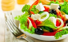 Picture bow, pepper, salad, olives, Greek, feta