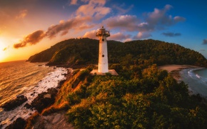 Picture sea, sunset, shore, lighthouse