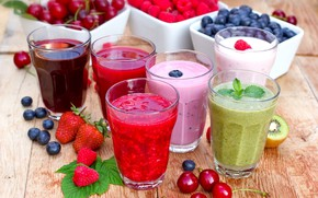 Picture cherry, berries, strawberry, blueberries, smoothies