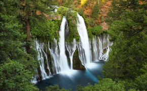 Picture forest, trees, rocks, waterfall, CA, top, USA, USA, California, waterfalls, Burney falls, MacArthur