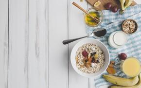 Picture Breakfast, juice, bananas, fruit, nuts, honey, yogurt, dried fruits, oatmeal