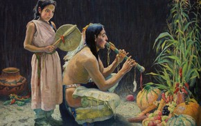 Picture musical instruments, fruits and vegetables, Eanger Irving Couse, The Harvest Song, (c.1920)