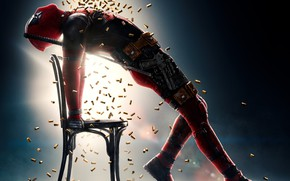 Wallpaper costume, chair, fiction, humor, swords, Ryan Reynolds, Ryan Reynolds, background, shower, pose, weapons, gun, Deadpool ...