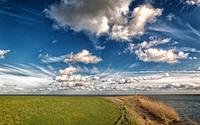Picture sea, the sky, clouds, coast, Netherlands, Holland, Flevoland, Lelystad