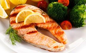 Picture greens, lemon, fish, tomatoes, delicious, broccoli