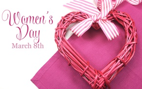 Wallpaper heart, spring, March 8, heart, spring, bow, Holidays, women's day