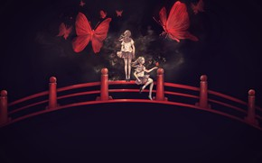 Picture butterfly, bridge, girls, mask