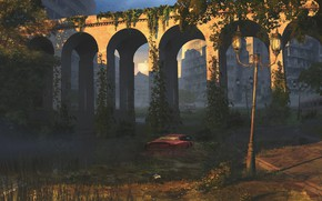 Picture bridge, vegetation, building, car, One new day
