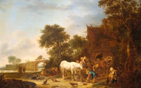 Wallpaper landscape, tree, oil, picture, Isaac van Ostade, Coaching Inn with a Horse at the Trough