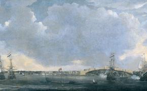 Picture landscape, ship, oil, picture, canvas, Reinier Nooms, View Of Tripoli