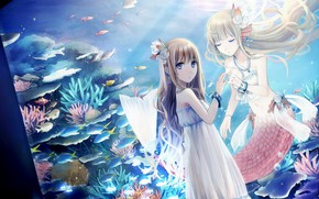 Picture girl, mermaid, art