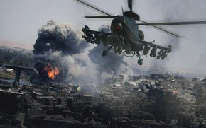 Picture smoke, helicopter, Military helicopter