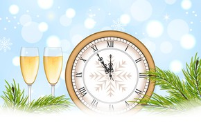 Picture snowflakes, time, glare, background, holiday, watch, vector, glasses, Christmas, New year, champagne, midnight, pine branches