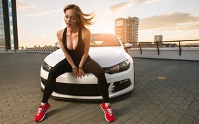 Picture car, Volkswagen, sexy, low, stance, Scirocco, Ural, car and girl, worn9, Evgeniy Savin, Ekaterinburg