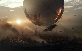 Picture sphere, Activision, Bungie, destiny 2, art, mountains, Traveler