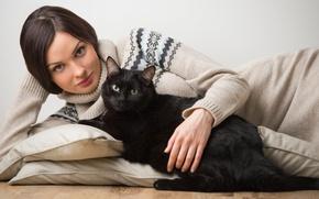 Picture cat, look, girl, animal, pillow, brunette, sweater, black cat
