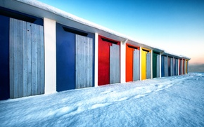 Picture snow, Board, door, concrete, colorful