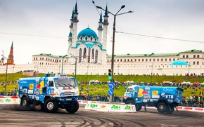 Picture Auto, Blue, Machine, People, Truck, Master, Skid, The Kremlin, Drift, Russia, Red Bull, Kazan, Mosque, …