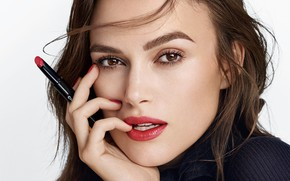 Picture look, girl, face, lipstick, Keira Knightley