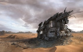 Picture desert, the crash, disaster, the skeleton, Lost in Space