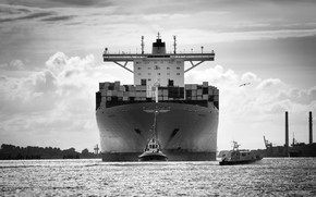 Picture Port, The ship, Emma, A container ship, Tank, The pilot, Maersk, Maersk Line, Tug, Black ...