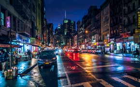 Picture night, lights, movement, street, the building, New York, Manhattan, New-York, Manhattan, Chinatown