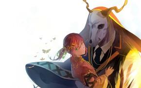 Picture girl, background, anime, art, two, fascinator, Mahou Tsukai no Yome