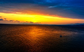 Picture sea, the sky, clouds, sunset, coast, boat, the evening, horizon