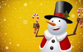 Picture Winter, Minimalism, Snow, New Year, Christmas, Snowflakes, Background, Hat, Holiday, Cylinder, Snowman