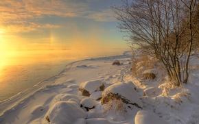 Picture winter, grass, water, the sun, snow, trees, landscape, nature, lake, stones, ice, frost, Vuoksa