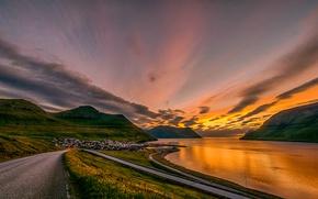 Picture road, the sky, sunset, mountains, coast, Denmark, Bay, houses, serpentine, Faroe Islands, Leirvík