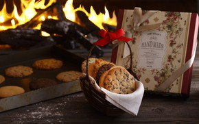 Picture fire, cookies, book
