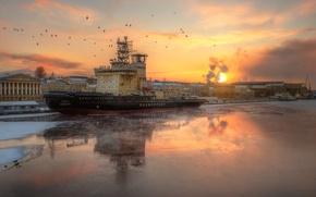 Picture river, Saint Petersburg, icebreaker, Neva