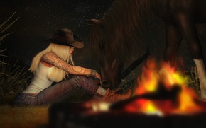 Picture girl, horse, the evening, the fire