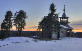 Picture spring, the evening, village, Church, Karelia, Manga