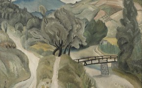 Wallpaper river, hills, trails, Landscape, trees, 1918, Fujita, bridge, Tsuguharu