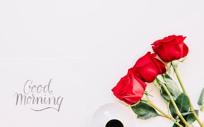 Picture roses, bouquet, red, red, cup, romantic, coffee, good morning, roses, a Cup of coffee