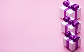 Picture gift, tape, bow, box, pink, present, gift, bow, puple, satin